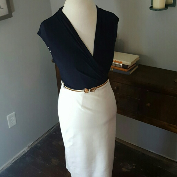 Joseph Ribkoff Dresses & Skirts - Joseph Ribkoff // navy & ivory // gold belt